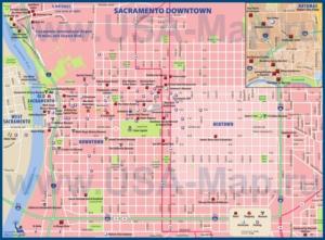 Туристическая карта Сакраменто с отелями и достопримечательностями