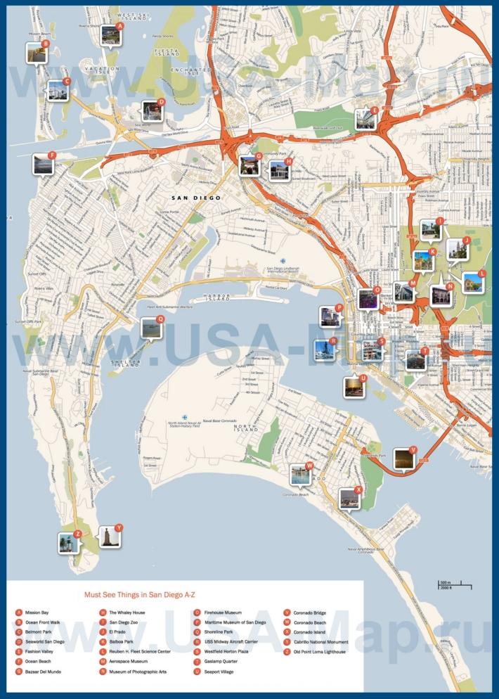 Карта Сан-Диего с достопримечательностями