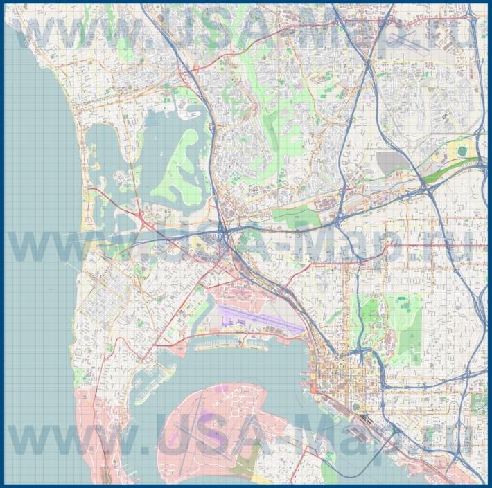 Подробная карта города Сан-Диего