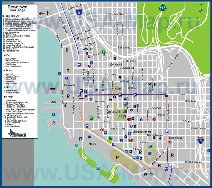 Туристическая карта Сан-Диего с отелями, достопримечательностями, ресторанами, барами и магазинами
