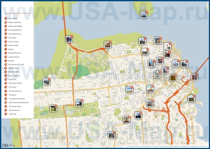 Карта Сан-Франциско с достопримечательностями