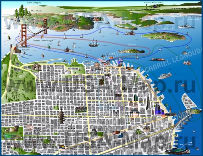 Туристическая карта Сан-Франциско с достопримечательностями