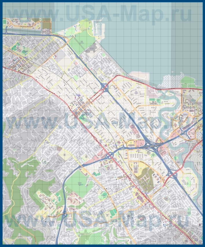 Подробная карта города Сан-Матео
