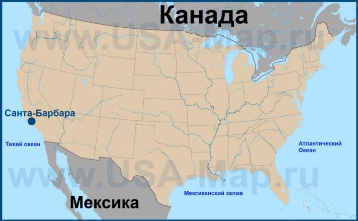 Санта-Барбара на карте США