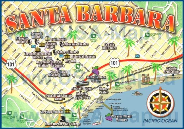 Туристическая карта Санта-Барбары с достопримечательностями