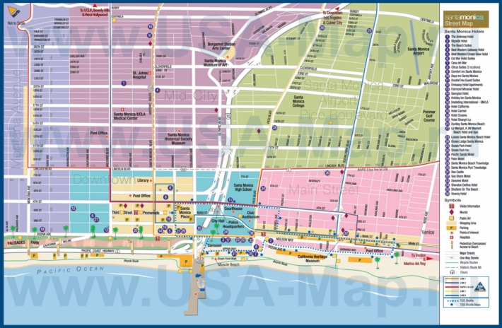Туристическая карта Санта-Моники с отелями, достопримечательностями и магазинами