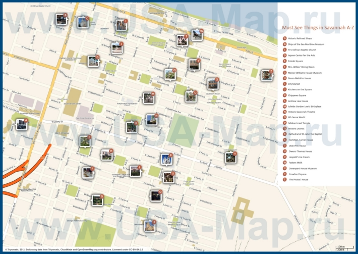 Туристическая карта Саванны с достопримечательностями