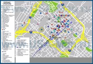 Туристическая карта Шарлотта с отелями, достопримечательностями, ресторанами, барами и магазинами