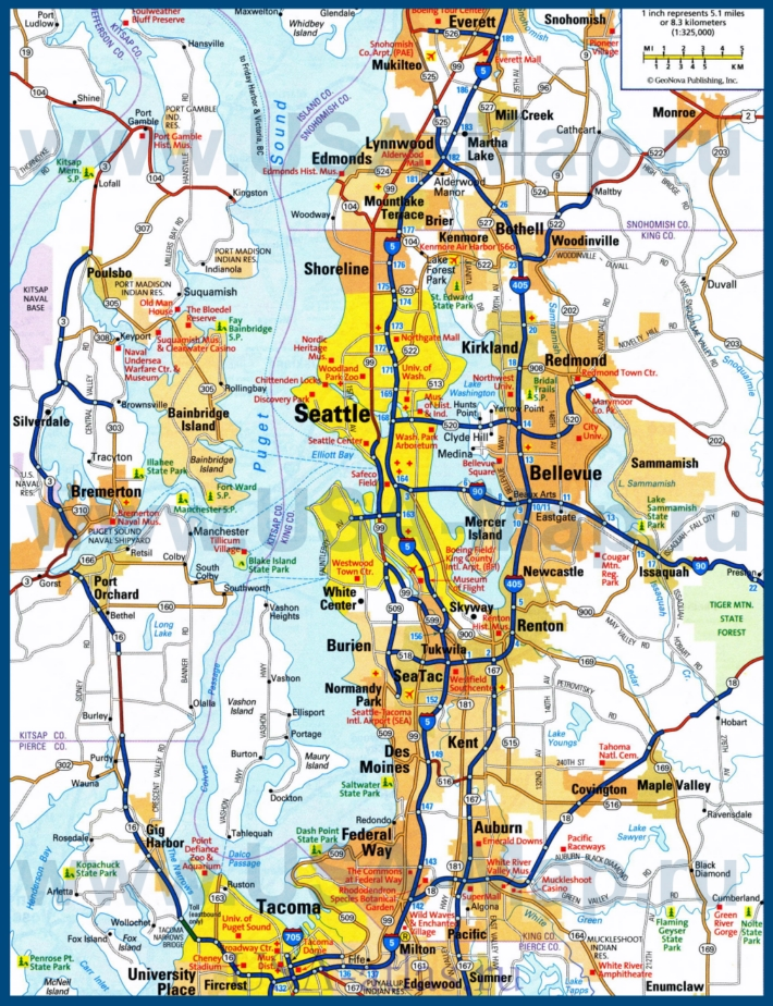 Карта дорог Сиэтла с окрестностями