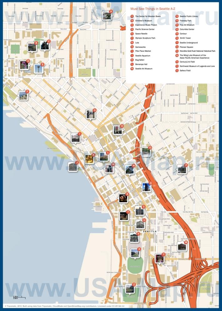 Карта Сиэтла с достопримечательностями