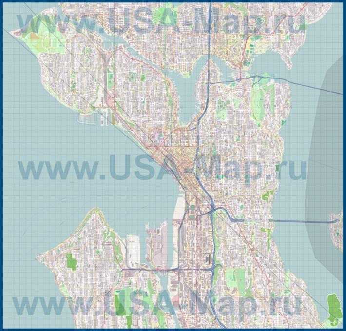Подробная карта города Сиэтл