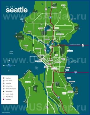 Туристическая карта Сиэтла с достопримечательностями и магазинами