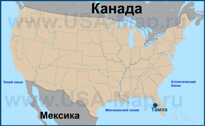 Тампа на карте США