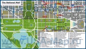 Карта центра Вашингтона с достопримечательностями
