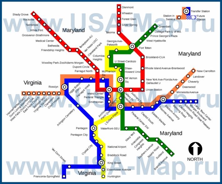 Карта метро Вашингтона