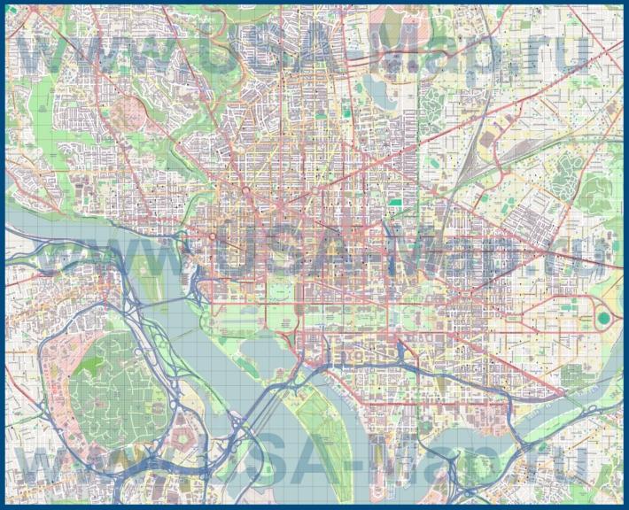 Подробная карта города Вашингтон