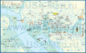 Подробная туристическая карта Вашингтона