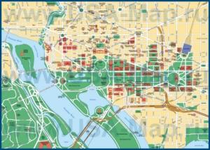 Туристическая карта Вашингтона с достопримечательностями