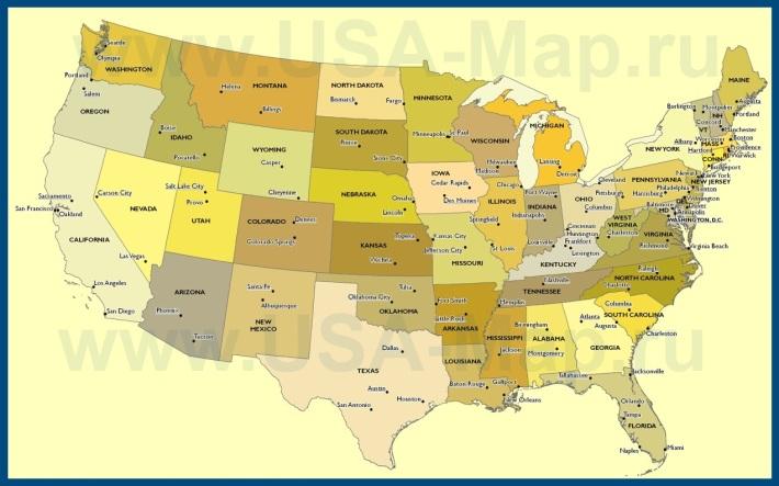 Карта США со штатами