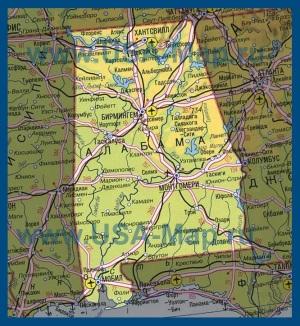 Карта Алабамы на русском языке