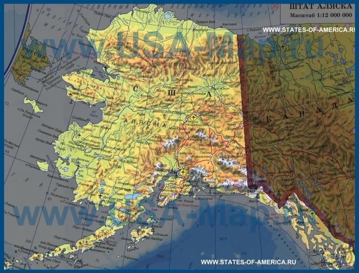 Карта аляски на русском языке