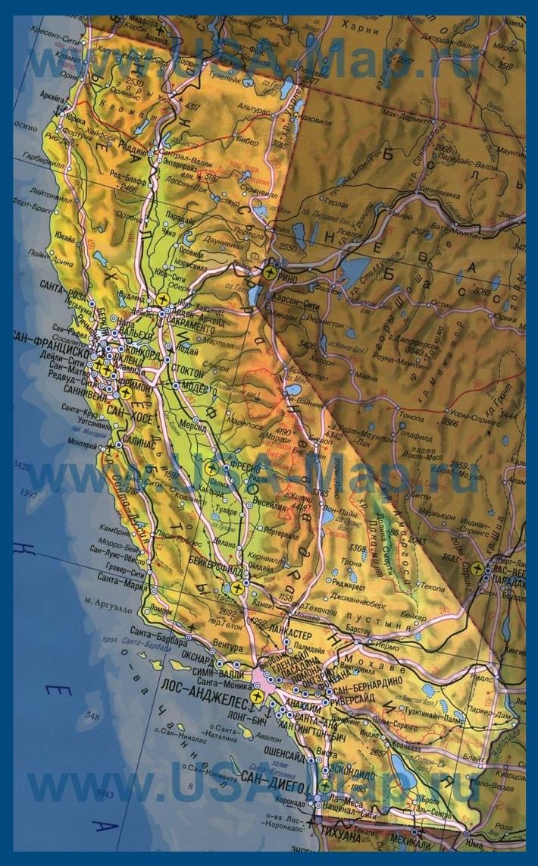 Карта Калифорнии на русском языке