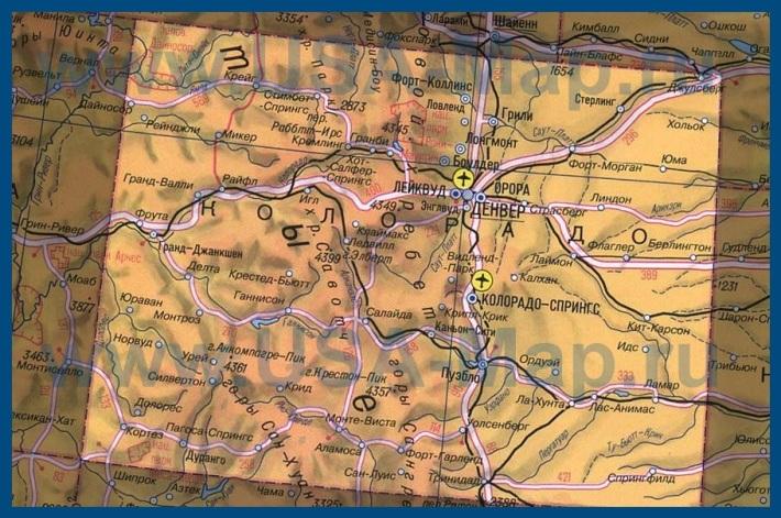 Карта Колорадо на русском языке