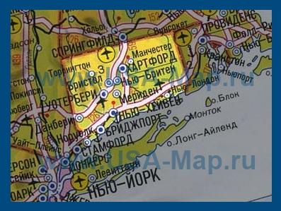 Карта коннектикута на русском языке