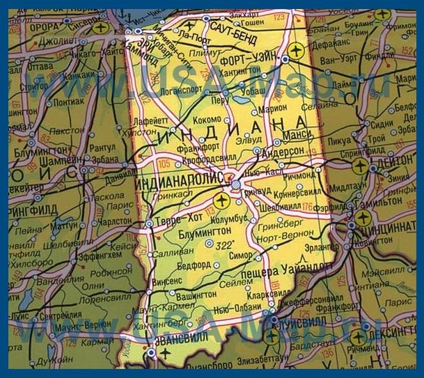 Карта Индианы на русском языке