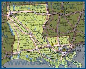 Карта Луизианы на русском языке