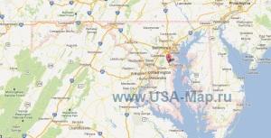 Подробная карта Мэриленда