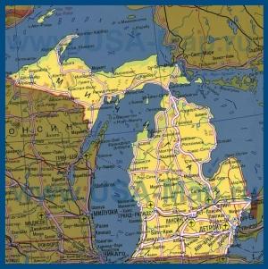 Карта Мичигана на русском языке