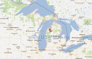 Подробная карта штата Мичиган