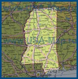 Карта Миссисипи на русском языке