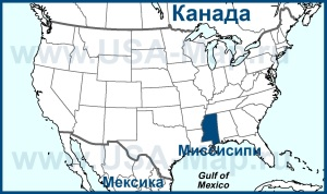 Миссисипи на карте США