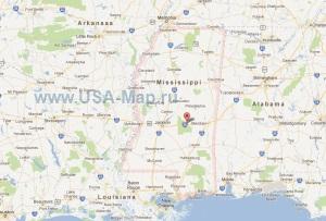 Подробная карта штата Миссисипи