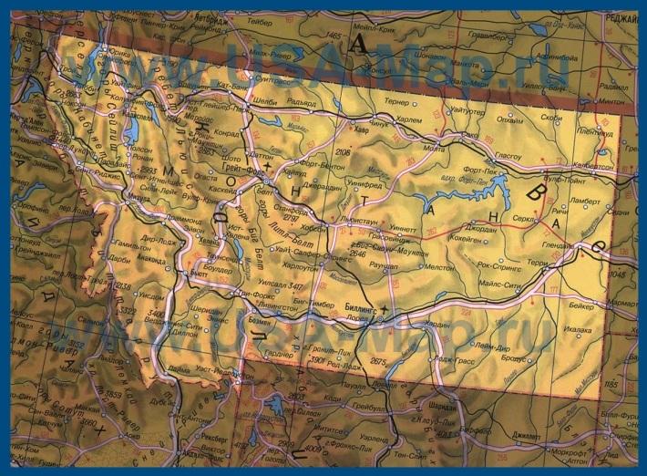 Карта Монтаны на русском языке