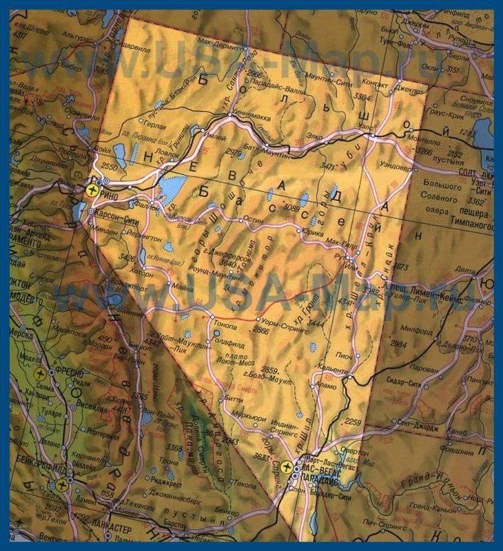 Карта Невады на русском языке