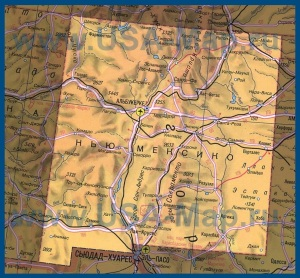 Карта Нью-Мексико на русском языке