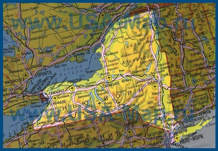 Карта штата Нью-Йорк на русском языке