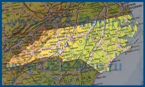 Карта Северной Каролины на русском языке
