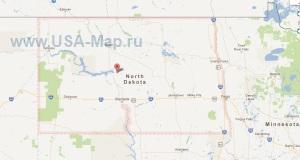 Подробная карта Северной Дакоты