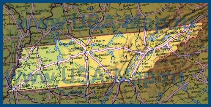 Теннесси на карте сша