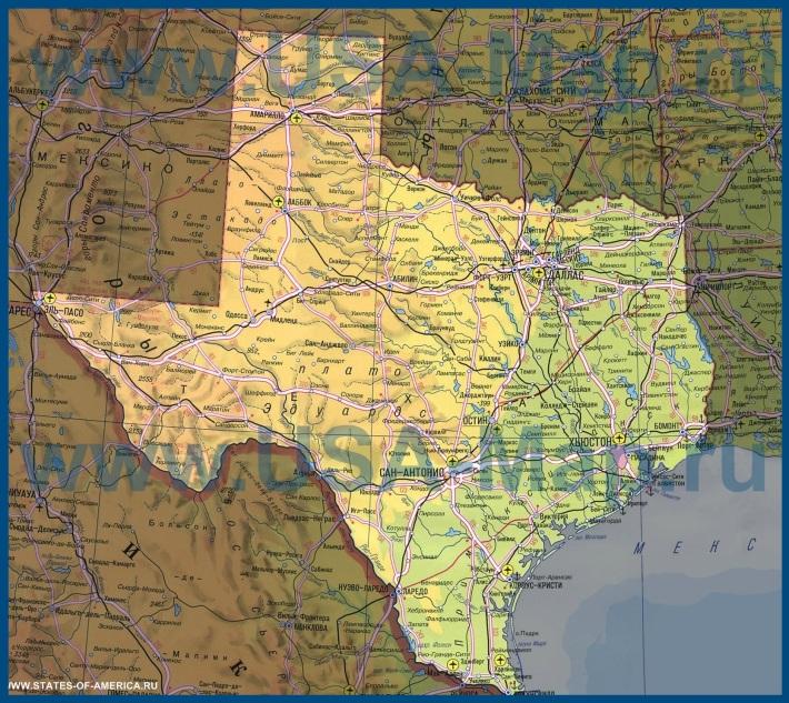 Карта Техаса на русском языке