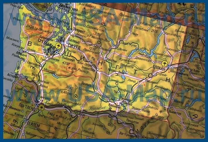 Карта штата Вашингтон на русском языке
