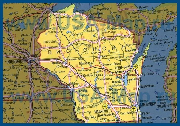 Карта висконсина на русском языке